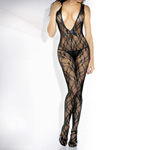 Lace floral deep-v front bodystocking with rhinestone reviews