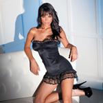 Stretch club dress with lace trim reviews