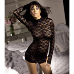 Stretch lace long sleeve mini-dress reviews