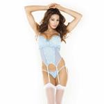 Blue garter bustier set reviews