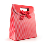Red gift tote with stripes