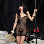 Floral lace mini dress with shredded straps reviews