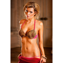 Leopard four-way deep-v push up bra