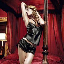 Black satin camisole and short set