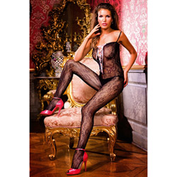 Flower lace-up bodystocking - bodystockings