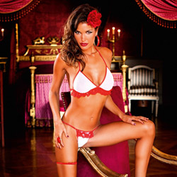 Red two-piece ruffle bikini set - bra and panty set