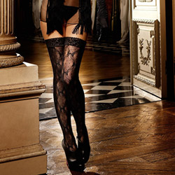 Lace top bow thigh high - hosiery