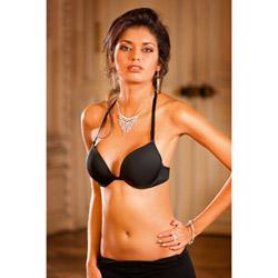 Black four-way deep-v push up bra