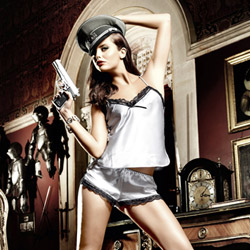 Silver satin camisole and short set - camisole set