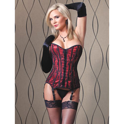Piped lace and satin corset