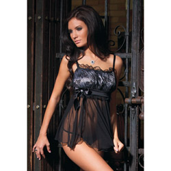 Mesh and lace babydoll and g-string - babydoll and panty set