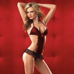 Halter-top teddy with g-string