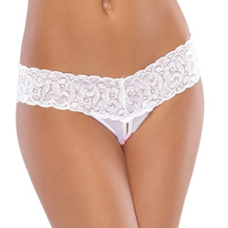 White mesh lace crotchless thong - crotchless panty