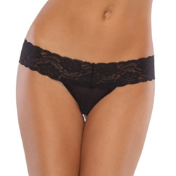 Black mesh thong with lace waist - sexy panty