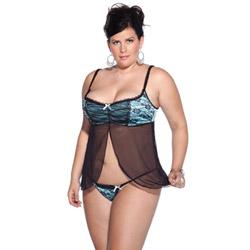 Lycra mesh babydoll - babydoll and panty set