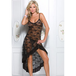 Black stretch lace gown