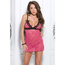 Stretch lace chemise and g-string