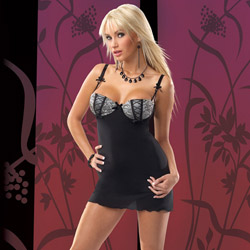 Ecstasy embroidered satin nightdress set - sexy lingerie