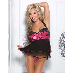 Lace and mesh babydoll with g-string - babydoll and panty set