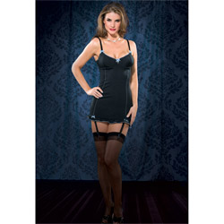 Lace up back gartered chemise