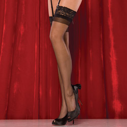 Black sheer thigh highs with lace top - hosiery