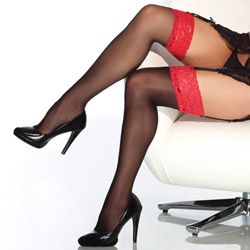 Sheer thigh high stockings with lace top
