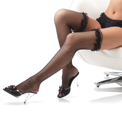 Fishnet stockings with ruffled lace