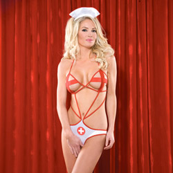 Crotchless nurse teddy - sexy costume