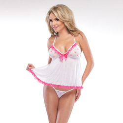 Mesh bow babydoll and g-string