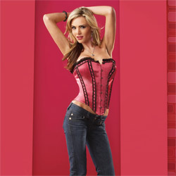 Sexy satin corset and g-string - corset and panty set