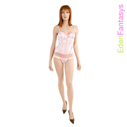 Polka dot passion corset with thong - corset and panty set