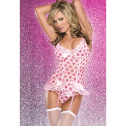 Heart print bustier and g-string - bustier and panty set