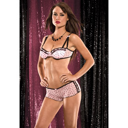 Heart mesh bra with tanga shorts - bra and panty set