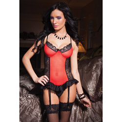 Red mesh and lace bustier