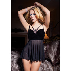 Holiday velveteen babydoll and g-string - babydoll and panty set