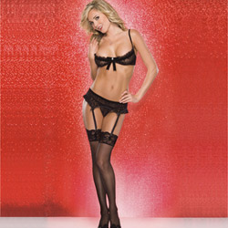 Heart mesh bra and g-string set - bra, panty and garter belt set
