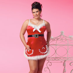 Satin Santa apron dress - costume