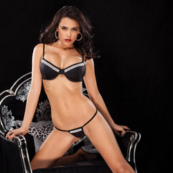 Lycra rhinestone bra set - bra and panty set