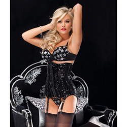 Fully boned sequin waist cincher