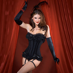 Polka dot mesh corset black