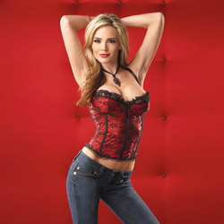 Red satin and lace bustier