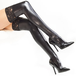 Wetlook thigh high stockings - hosiery