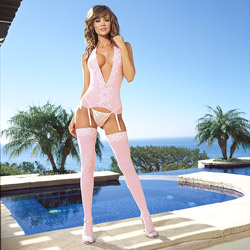Santa Barbara pink camigarter set - camigarter, panty and stockings set