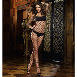 Fence net bodystocking with bra and panty - sexy lingerie