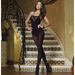 Opaque halter bodystocking - crotchless bodystocking