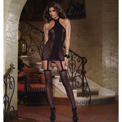 Lace opaque garter dress - chemise