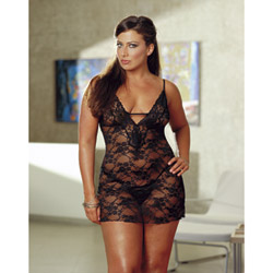 Floral lace chemise with thong