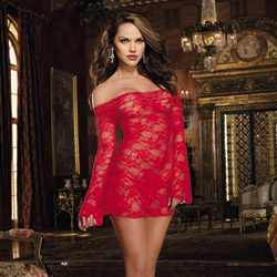 Red floral lace sleeved chemise