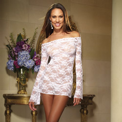 White lace courtesan long sleeve chemise