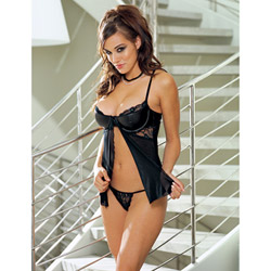 Seductress faux leather babydoll set - babydoll and panty set